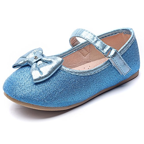 Chiximaxu Maxu Toddler Girl's Marry Jane Flat Casual Blue Strap Ballerina Shoes,Toddler 8.5M by Chiximaxu