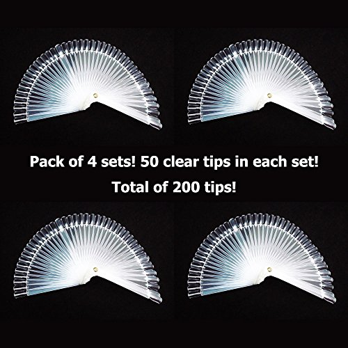 GOGOONLY 200 Clear Tips Fan-shaped Nail Art Display Chart Acrylic False Tips Practice Tool - 200 Tips in Total - BH000472