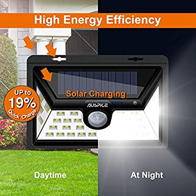 AUSPICE Solar Lights Outdoor, Upgraded [34LED] 3 Optional Modes Motion Sensor Lights, IP65 Waterproof, 270° Wide Angle 450LM LED Solar Light for Step Stairs,Yard,Garden,Garage,Deck