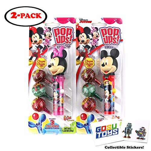 Disney Mickey Mouse and Minnie Mouse Pop Ups Lollipop Case Holder with Chupa Chups Lollipops and 2 Gosu Toys Stickers (2 pack)]()