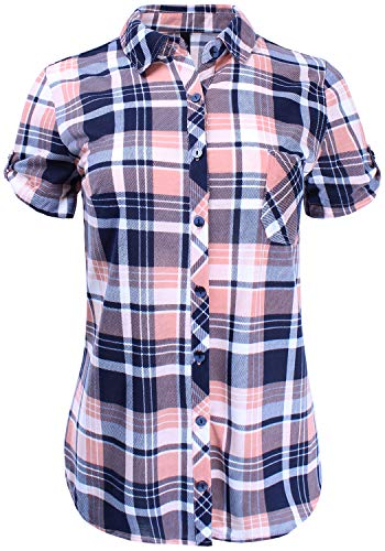 Short Sleeve Plaid Button Down Shirt Knit Top Navy Dusty Pink M Size (Pink Plaid Western Shirt)