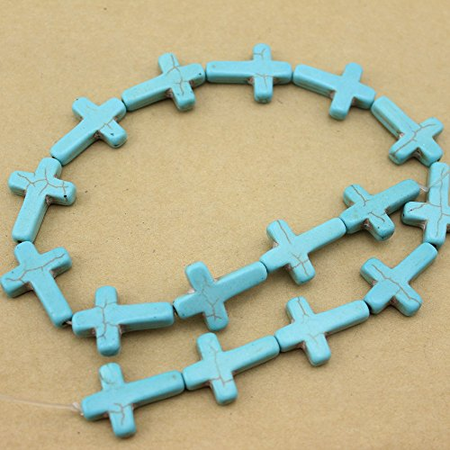 16pcs/pack 1.8cm2.40.5cm Natural Blue Created Beads Stone Howlite Loose Beading Jewelry Making DIY Material
