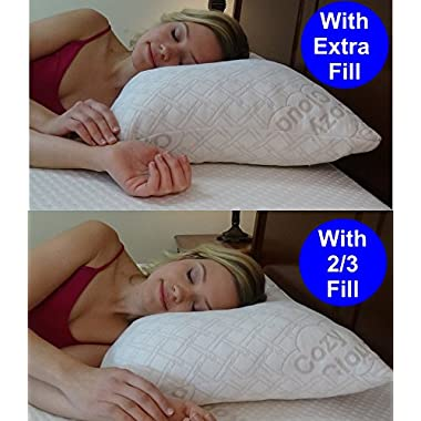 Adjustable Bamboo Pillow By CozyCloud | 4 Xs More Bamboo Than Other Brands | Deluxe Shredded Memory Foam Support | Thick, Medium & Thin Heights With Travel Bolster | All USA Made (Queen)