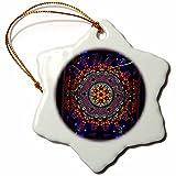 3dRose MANDALA 4 mandala india buddhism hinduism psychedellic new age harmony balance meditation - Snowflake Ornament, Porcelain, 3-inch (orn_24832_1)