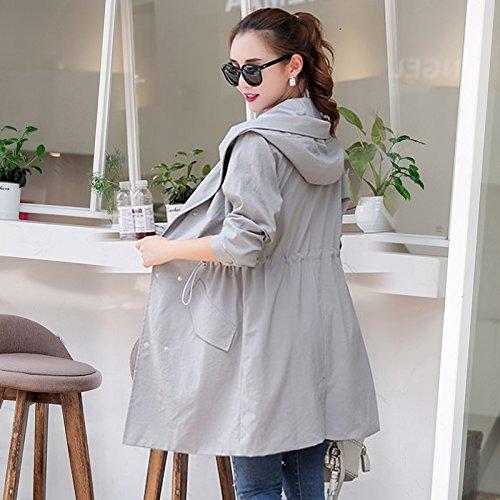 amp; Jacket Coats Jackets Female A Women'S Spring Windbreaker SCOATWWH Grey Long Casual Women'S 0F6vqwvRB