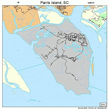 Amazoncom Large Street Road Map Of Parris Island South Carolina - Parris map