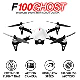 Force1 F100 Ghost Drone with Camera - 1080p Remote Control Brushless Drones w/Go Pro Action Video Camera Mount & Extra Battery Long Range RC Quadcopter Drone