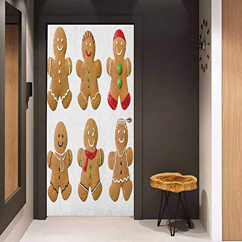 Onefzc Door Wallpaper Murals Gingerbread Man Vivid Homemade Biscuits Sugary Xmas Treats Sweet Tasty Pastry WallStickers W32 x H80 Pale Brown Red Green