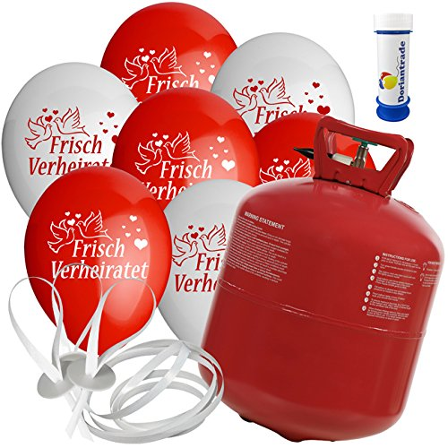 100 Luftballons Ø 25 cm mit Helium Ballon Gas Motiv Frisch Verheiratet Hochzeit Valentinstag Komplettset + Gratis Doriantrade Seifenblasen (Rot/Weiß)