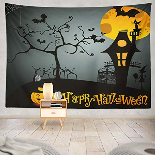 Happyome Autumn Clipart Tapestry, Wall Hanging Tapestry Cute Halloween House Haunted Frame Magic Cat Witch Wall Tapestry Dorm Home Decor Bedroom Living Room in 80WX60L]()