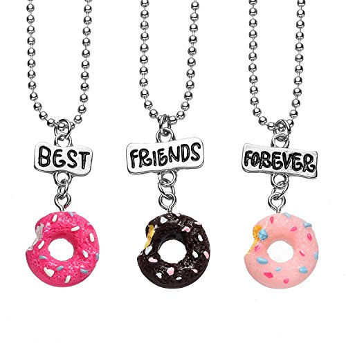 3 Packs Best Friends Forever Kids Children Resin Pendant Necklace (Best Lux Accessories Friend Necklaces For 4 Girls)