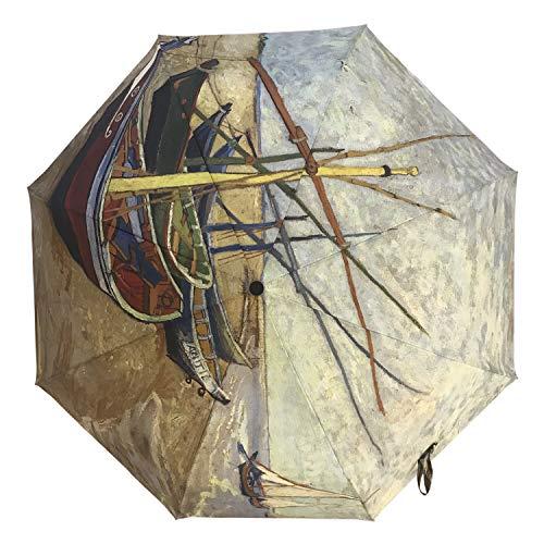 Unica Automatic Umbrella Boat by Vincent Van Gogh Compact Travel Windproof Rainproof Foldable Umbrella
