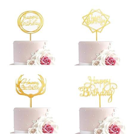 Cupcake Toppers, Feliz Cumpleaños Símbolo De La Torta Topper, 4 Piezas Multi-Círculo, Estrellas Cuadradas, Astas, Letras Inglesas, Adecuado para ...