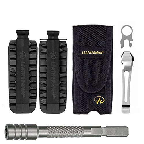 Leatherman Nylon Sheath For Charge, Wave, Surge, Signal With 42 Piece Bit Kit + Quick-Release Pocket Clip & Lanyard Ring + Bit Extender