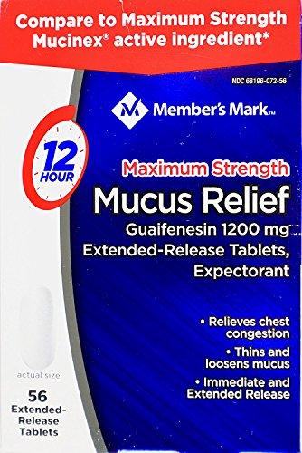 Member's Mark Mucus Relief Maximum Strength Guaifenesin 1200mg, 56 Tablets ()