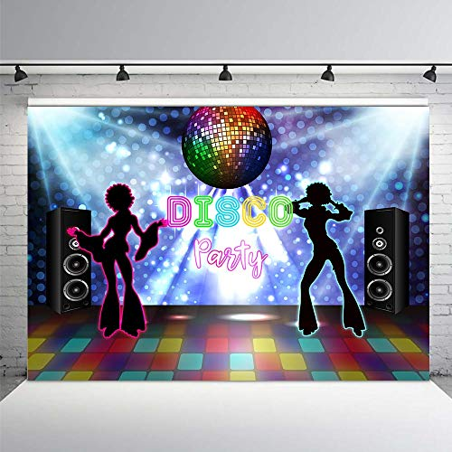 COMOPHOTO Disco Party Backdrop for Photography Neon Eighties Retro Style Let's Dance 80's Photo Background Portrait Banner Decoration -
