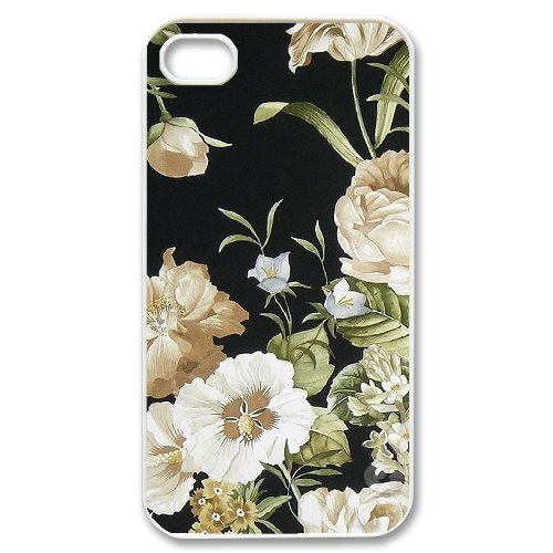 Andy iPhone 4,4s Case,Personalized Custom Retro Floral Vintage Flowers,Unique Design Protective TPU Hard Phone Case Cover