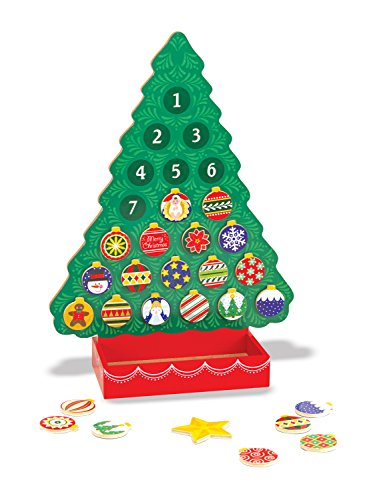 Melissa & Doug Wooden Advent Calendar - Magnetic Christmas Tree, 25 Magnets (Playboard Book)