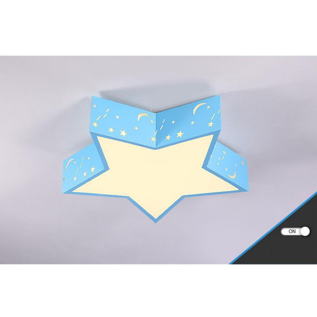 Ceiling light Cartoon star child led kindergarten Classroom lights Household Children's room Lamps ( Color : Blue , Size : C(with remote control) )
