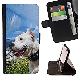 DEVIL CASE - FOR LG G3 - Sunny Dog Sea Ocean Pit-Bull Terrier Pet - Style PU Leather Case Wallet Flip Stand Flap Closure Cover