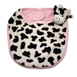 The Babymio Collection Bib, 100% Cotton Backed, Mooky the Cow Pink