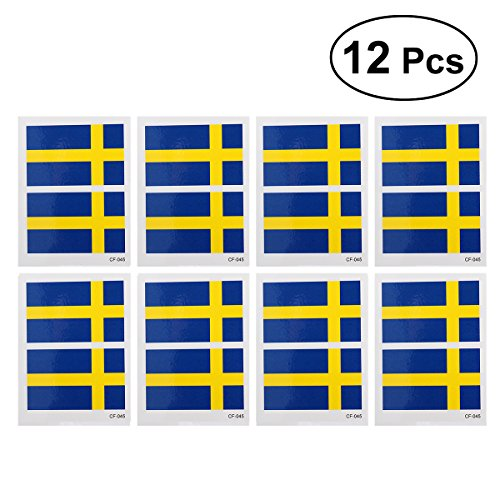12 Pcs Country Flag Tattoo Stickers Fashion Sports Body Art Tattoo Decals for 2018 World Cup (Sweden) free shipping
