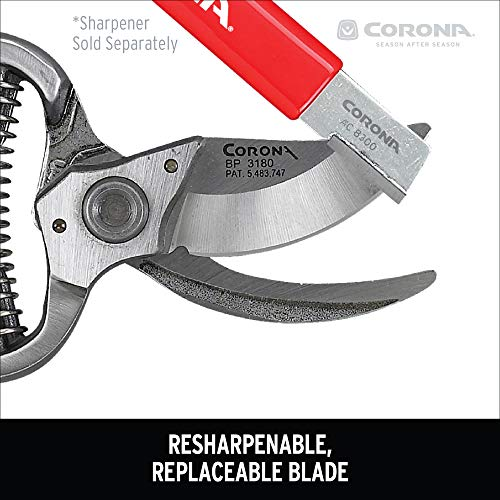 """Corona BP 3180D Forged Classic Bypass Pruner with 1 Inch Cutting Capacity, 1"""", Red"""