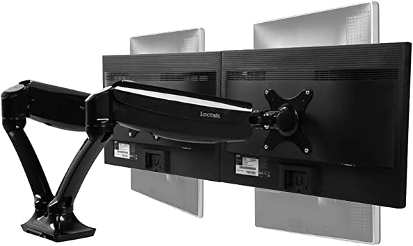 "Loctek D5D Dual Monitor Arm Desk Monitor Mounts Fits 10""-27"" Monitors, Gas Spring LCD Arm"