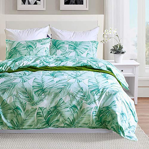 Comforter Hawaiian (Duvet Cover Set Green Banana Leaf Queen Size,Tropical Palm Leaves Decorative Bedding Set for Kids Boys Girls and Lady (Green Banana Leaves, Queen))