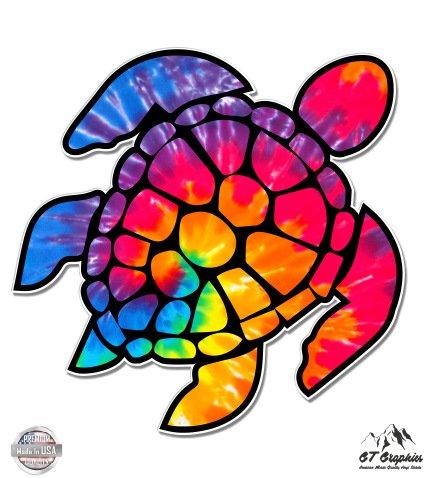 12 Inch Vinyl Decal - Tie Dye Sea Turtle - 12