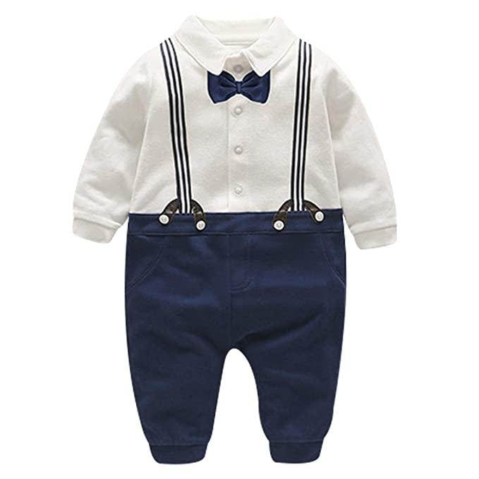 FAIRY BABY Baby Outfits Langarm Strampler Jungen Smoking Baby Baumwolle Gentleman Outfit Bowknot Weihnachts//Taufstrampler Kleidung