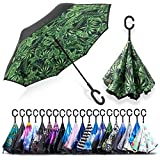 ZOMAKE Double Layer Inverted Cars Reverse Folding Umbrella UV Protection Windproof Large Big Straight Umbrella with C-Shaped Handle Plantain …