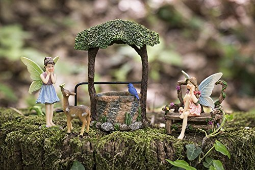 Joykick Fairy Garden Wishing Well Kit - Miniature Hand Painted Figurine Statues with Accessories - Set of 5pcs for Your House or Lawn Decor by Joykick (Image #5)