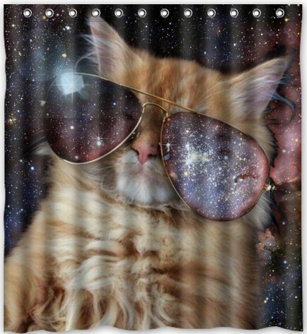Amazon Funny Design Star Galaxy Outer Space Cool Cat Shower Curtain 66w X 72h Generic Liners By Clothing