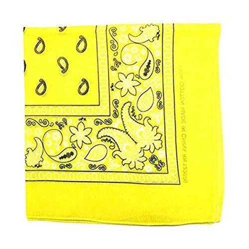 One Dozen Bandanas Cotton Novelty Double Sided Print Paisley Cowboy Bandana Party Favor Scarf Headband Handkerchiefs (Yellow) (Yellow Bandana Paisley)