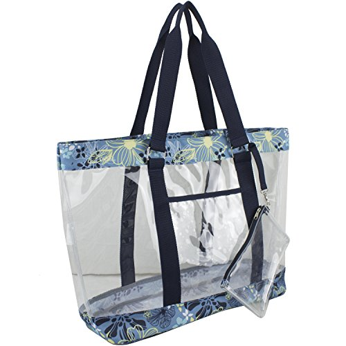 Floral Beach Bag (Eastsport Supreme Deluxe 100% Clear PVC Printed Large Beach Tote with Free Large Wristlet, Blue Floral)