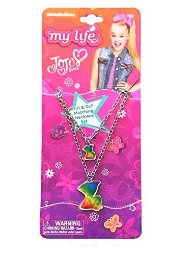 My Life As JoJo Siwa Girl and Doll Matching Necklace Set - Rainbow Bow