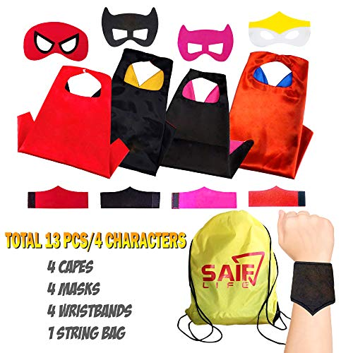 Superhero Capes for kids - 4 Characters Costume Set Pretend Play for Boys and Girls Includes Capes, Masks, Wristbands and Carry Bag for Make Believe Dress-Up Builds Self-Confidence and Teamwork (Confidence Wristbands)