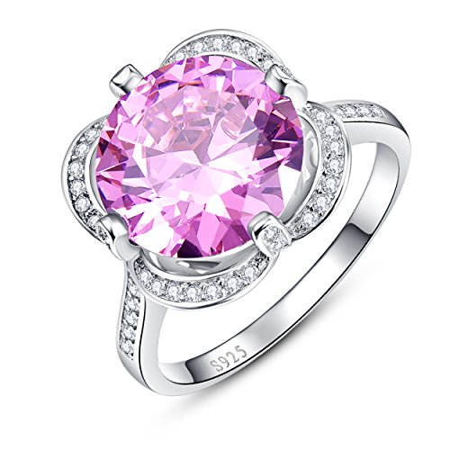Pink Topaz Flower (Yeinos Womens Created Pink Topaz Flower Shaped Ring 925 Sterling Silver)