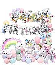 SSMYO Unicorn Birthday Balloons Party Decoration for Baby Girls,Huge 3D Unicorn Balloons Unicorn Cake Toppers Macaron Party Balloon Triangle Banner for Birthday Shower Party Decoration