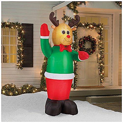 8 Feet Tall Winter Wonder Lane Inflatable Lighted Reindeer  Lighted Yard Art Decor  8 Led Lights
