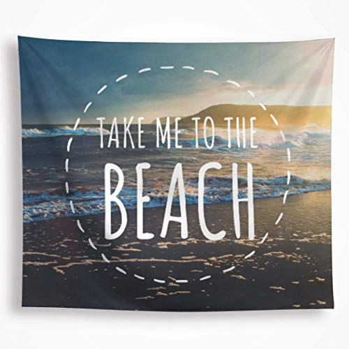 All Smiles Ocean Sunset Tapestry Wall Hanging Sea Wave Dusk Print Summer Beach Decorative Coconut Surf Bohemian Hippie for Bedroom Living Room 59X51Inches