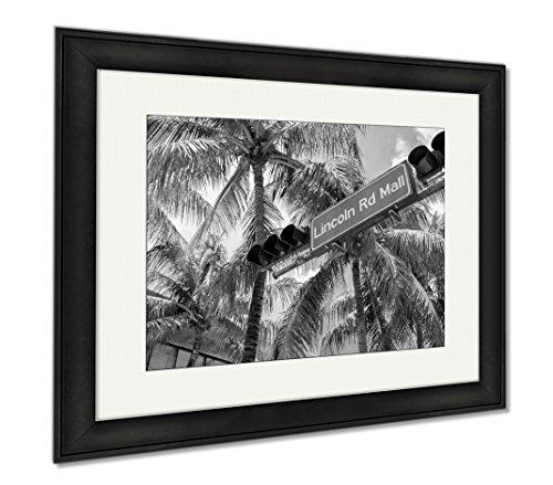 Ashley Framed Prints Miami Beach, Office/Home/Kitchen Decor, Black/White, 30x35 (frame size), Black Frame, - Road Shops Lincoln Mall