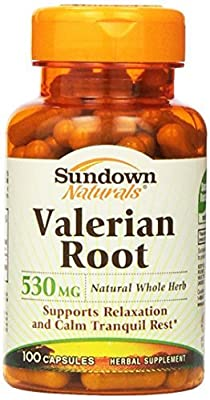Sundown Naturals Valerian Root 530 mg Herbal Supplement Capsules 100 CP - Buy Packs and SAVE (Pack of 6)