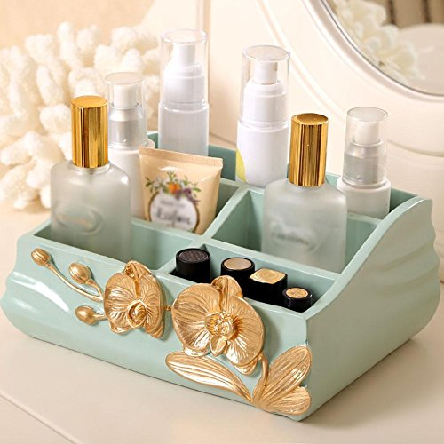 FLHSLY Desktop Storage box Living room Remote control storage box Cosmetic Dressing table Finishing box Multifunction Cosmetic case storage , green by FLHSLY