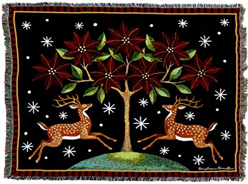 Poinsettia Deer - Pure Country Weavers | Deer Poinsettia and Tree Woven Tapestry Throw Blanket with Fringe Cotton USA 72x54