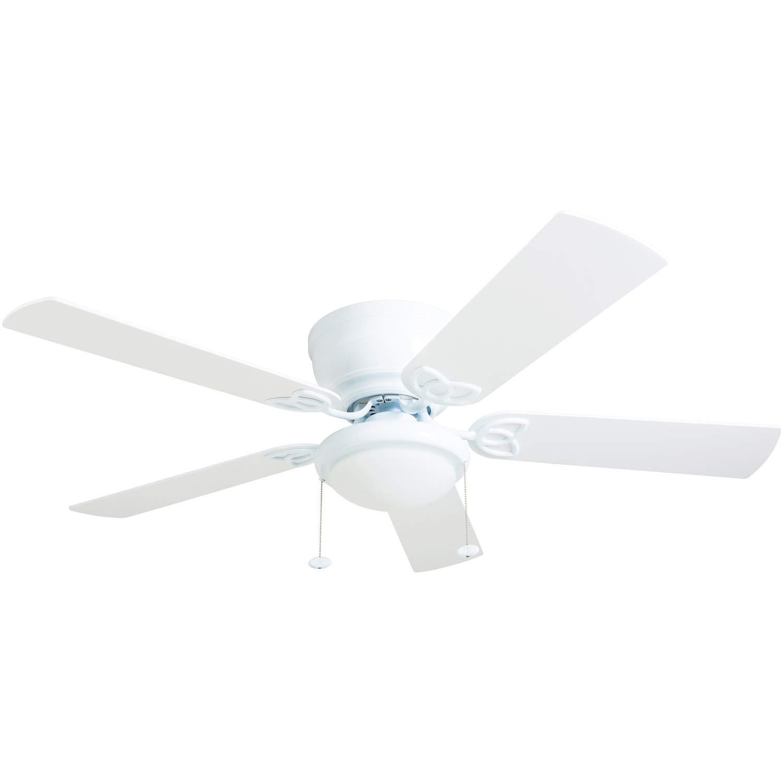 Prominence Home 50852-01 Benton Ceiling Fan Barnwood/White Blades, LED Globe Light Hugger/Low Profile, 52 inches,