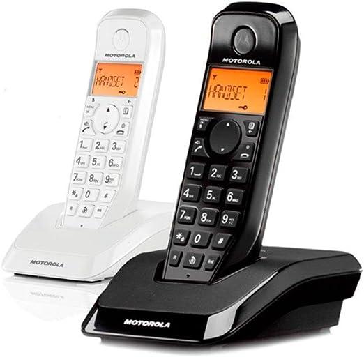 Motorola S1202 Duo - Teléfono fijo inalámbrico, color blanco y negro: Amazon.es: Electrónica