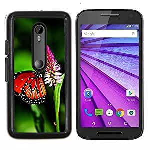 All Phone Most Case / Oferta Especial Duro Teléfono Inteligente PC Cáscara Funda Cubierta de proteccion Caso / Hard Case Motorola Moto G3 3rd Gen // Butterfly Spring Flying Wings Green Nature