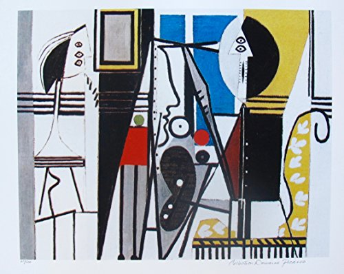 Artwork by Pablo Picasso After the Original Painting Painter in the Studio Pencil Hand Signed on the Lower Right Paper with Border Measures 26 inches x 20 inches